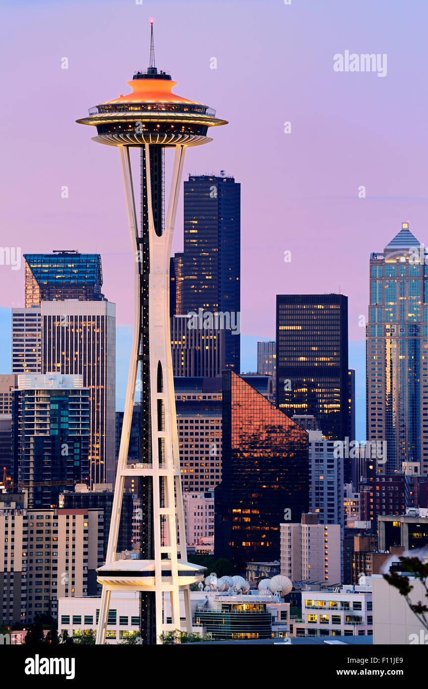 Space Needle and high rise buildings in Seattle city skyline at sunset, Washington, United States - Stock Image