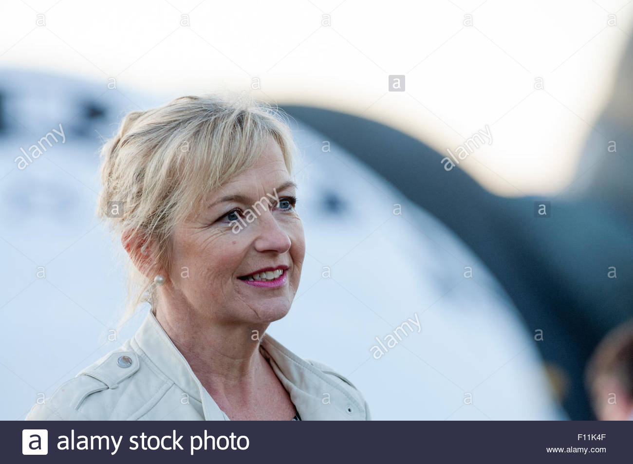 Bristol UK 7th August 2015 The Bristol Balloon Fiesta in the West Country City. Carol Kirkwood TV weather presenter. - Stock Image