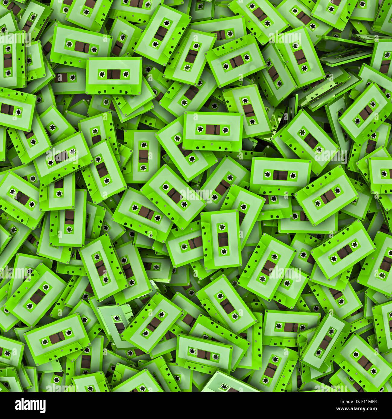 Cassette background, 3D render of cassette tapes - Stock Image