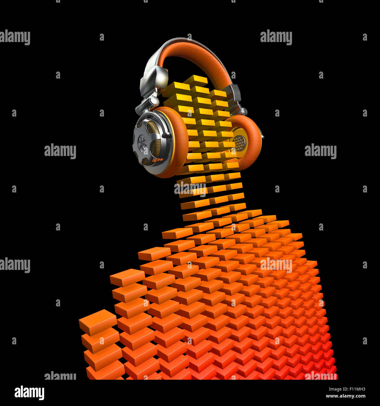Virtual Volume Stock Photos Images Alamy Virtualdj Wiring Diagram Dj 3d Render Of Equalizer Bars Forming Figure With Headphones Image