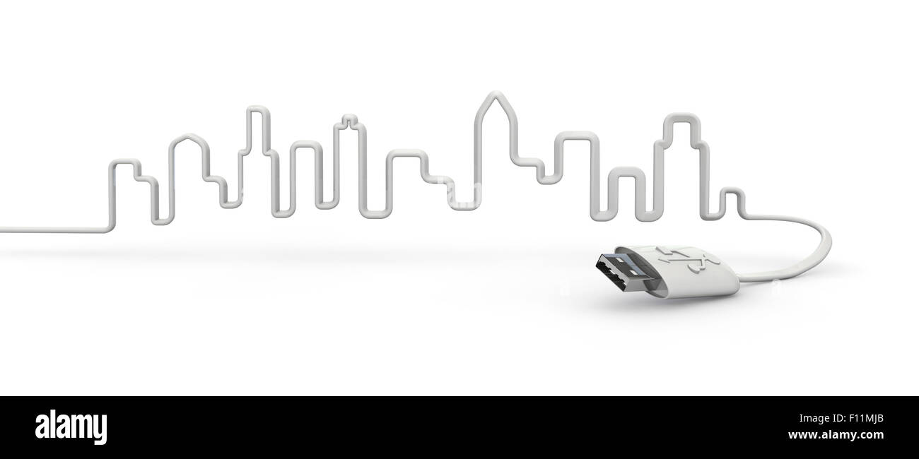 USB-city, 3D render of city skyline formed by USB cable Stock Photo