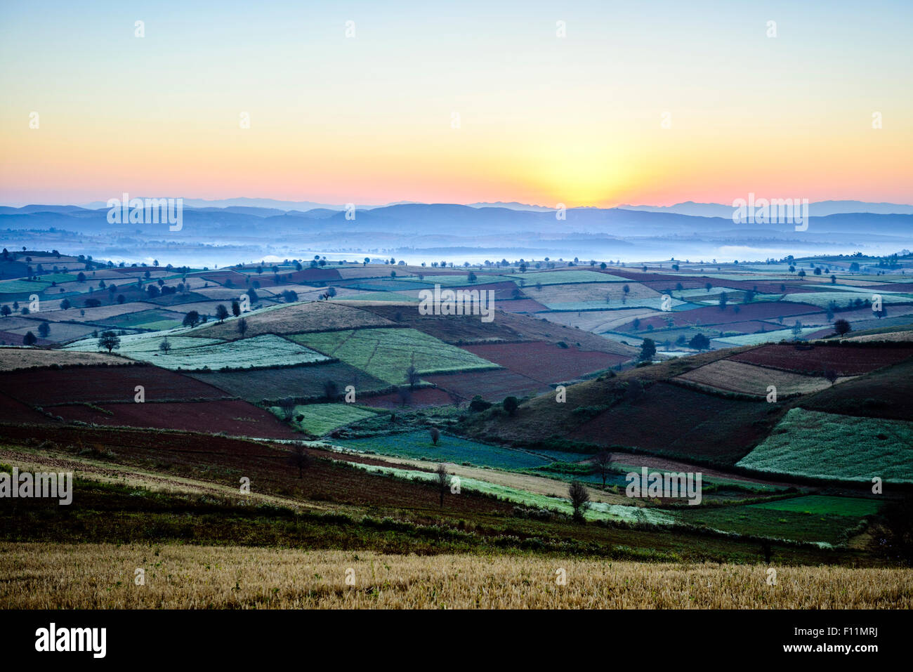 Scenic view of rural farmland, Mandalay, Myanmar - Stock Image