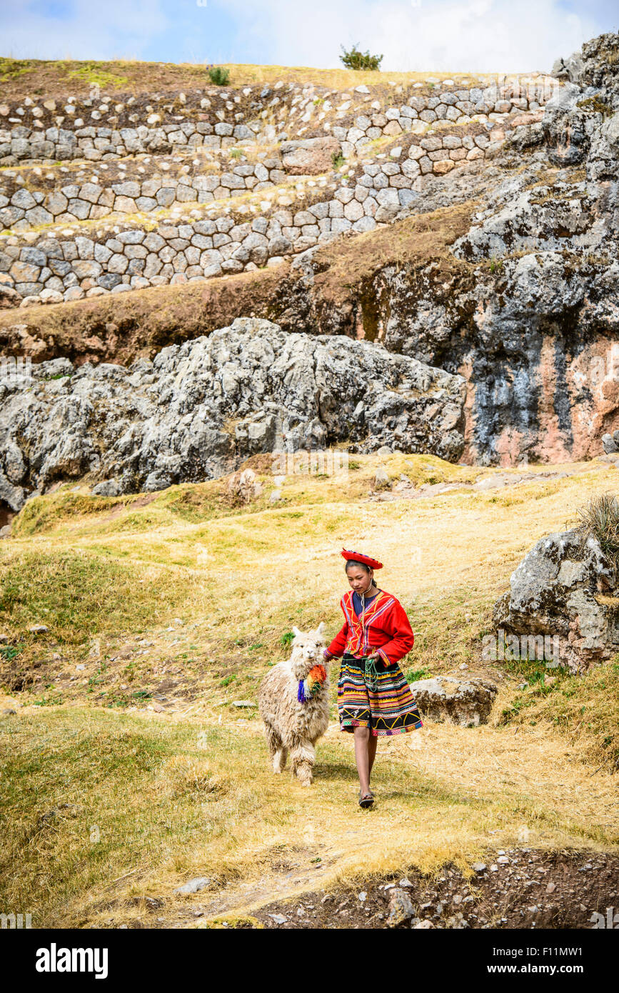 Hispanic girl walking llama in rural landscape - Stock Image
