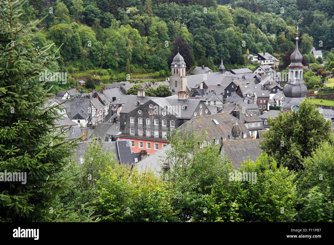 Slate-roofs of Monschau, Eifel region, North Rhine-Westphalia, Germany. - Stock Image