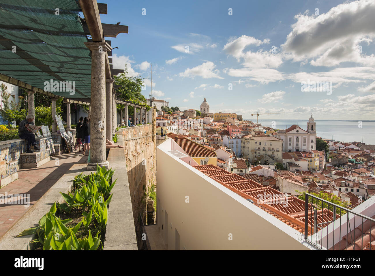Alfama quarter seen from the viewpoint - Stock Image