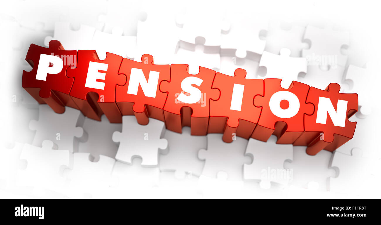 Pension - White Word on Red Puzzles. Stock Photo