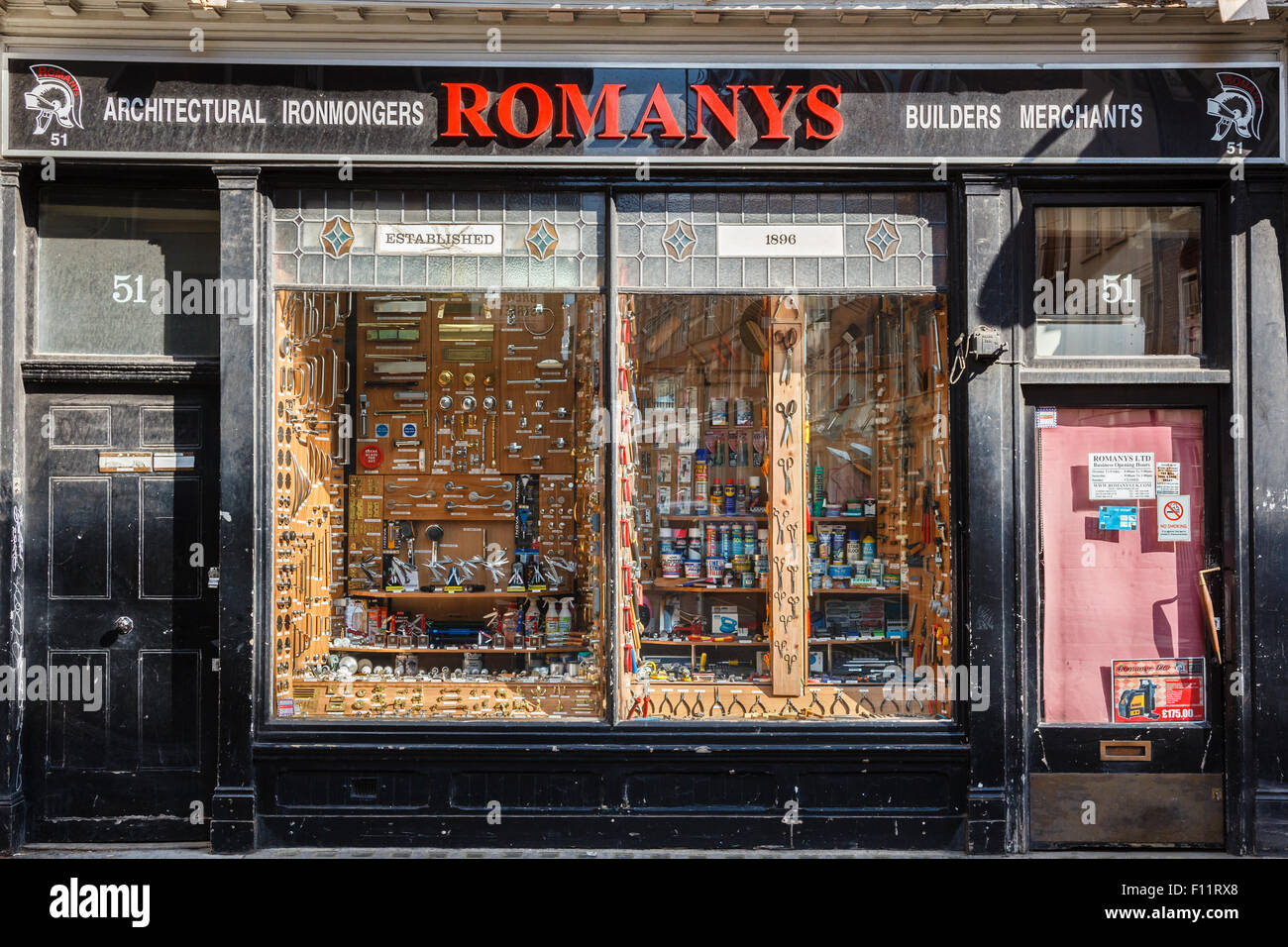 Romanys Architectural Ironmongers and Builders Merchants at 51 Brewer Street, Soho, London. - Stock Image