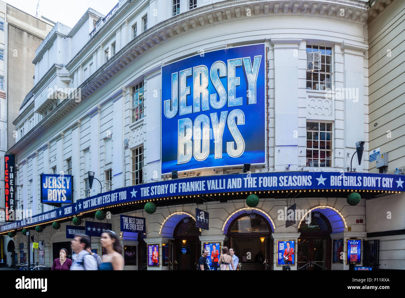External view of Piccadilly Theatre, Denman Street, London displaying signs for the hit musical, Jersey Boys. - Stock Image
