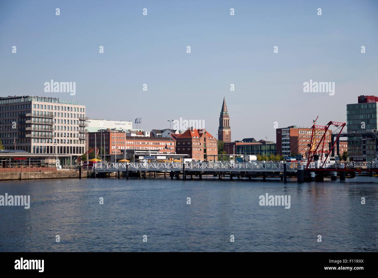 Cityscape with Kiel Fjord, Hörnbrücke and Town Hall Tower, Kiel, Schleswig-Holstein, Germany, Europe - Stock Image
