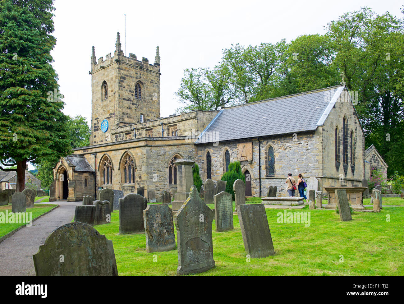 St Lawrence's Church, in the village of Eyam, Peak National Park, Derbyshire, England UK - Stock Image