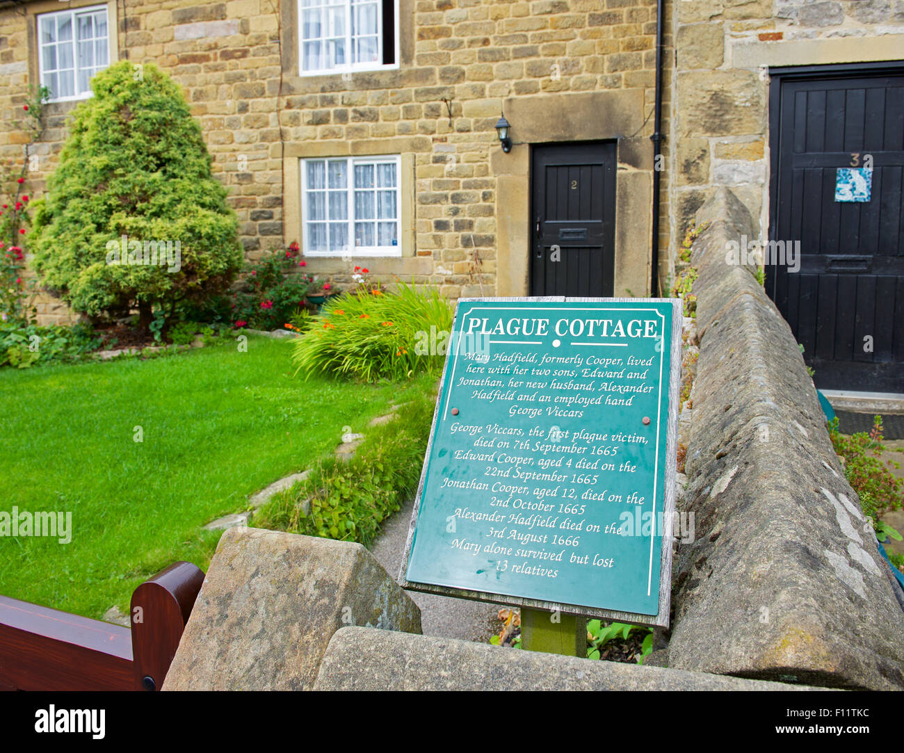 One of the plague houses in the village of Eyam, Peak National Park, Derbyshire, England UK - Stock Image