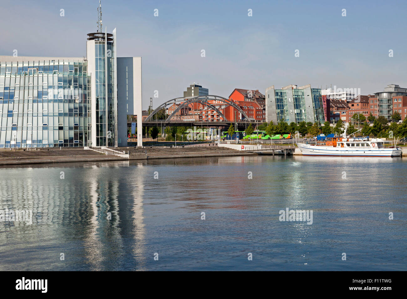 Hörn-Campus Building  and Kiel Fjord, Kiel, Schleswig-Holstein, Germany - Stock Image