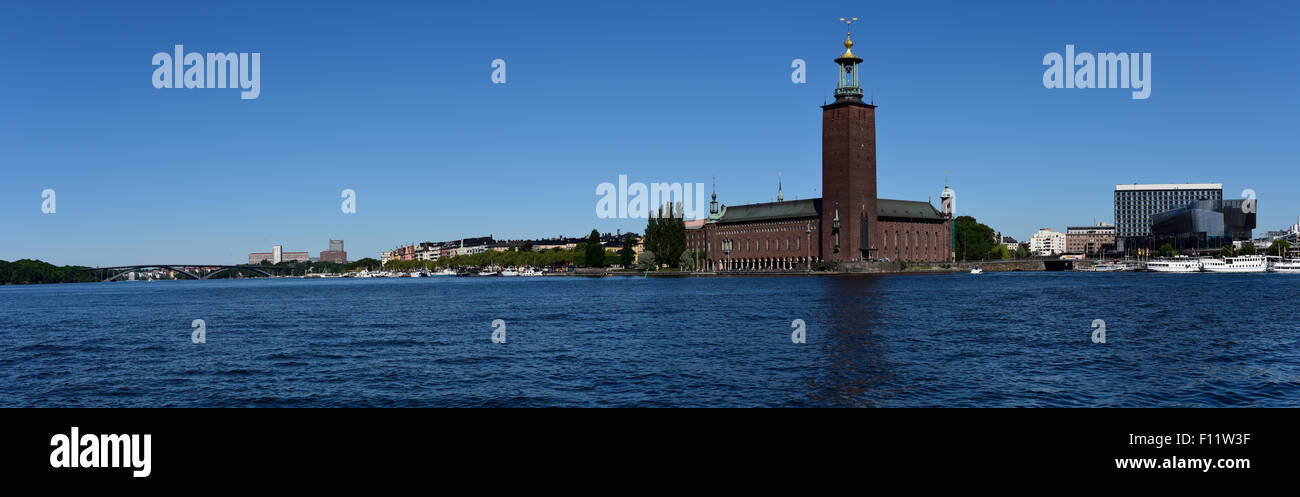 Radisson blu hotel Stockholm city and Sweden Stockholm city hall. - Stock Image
