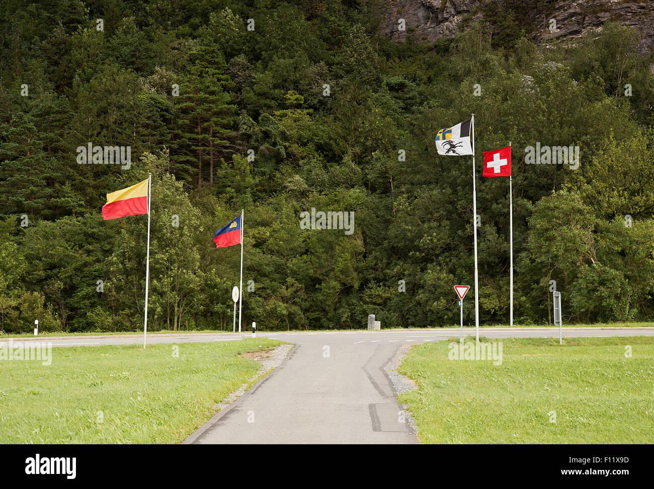Border crossing in Liechtenstein and Switzerland Stock Photo