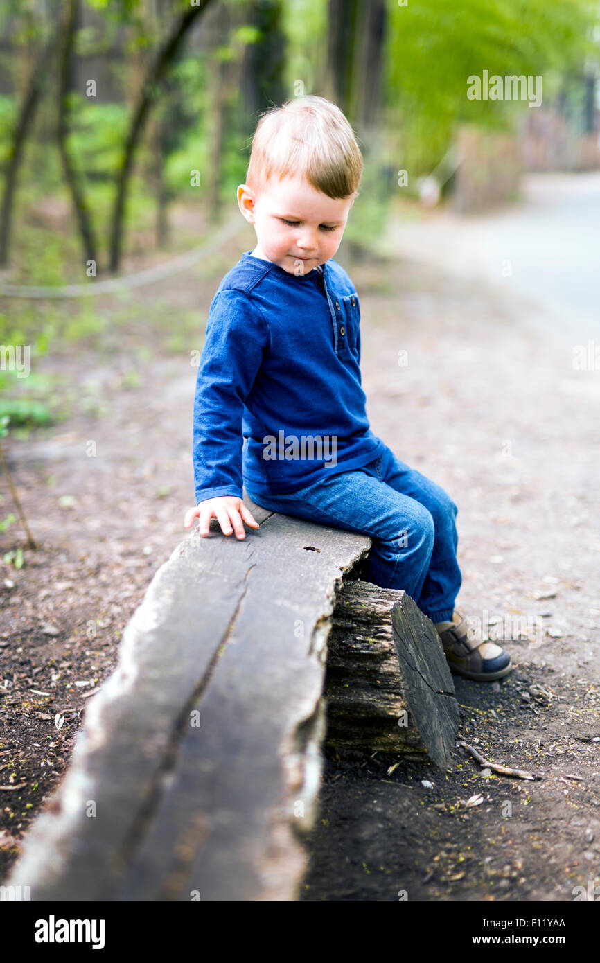Cute Little Boy Sitting On A Wooden Bench Stock Photo