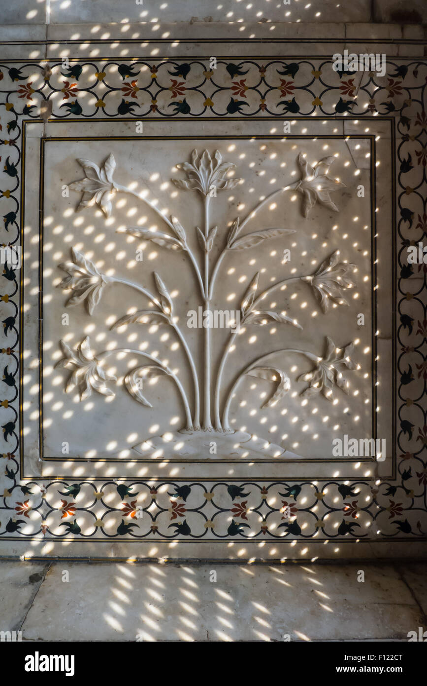 Agra, Uttar Pradesh, India. The Taj Mahal; detail of floral carving on a bas relief marble panel in dfappled light Stock Photo