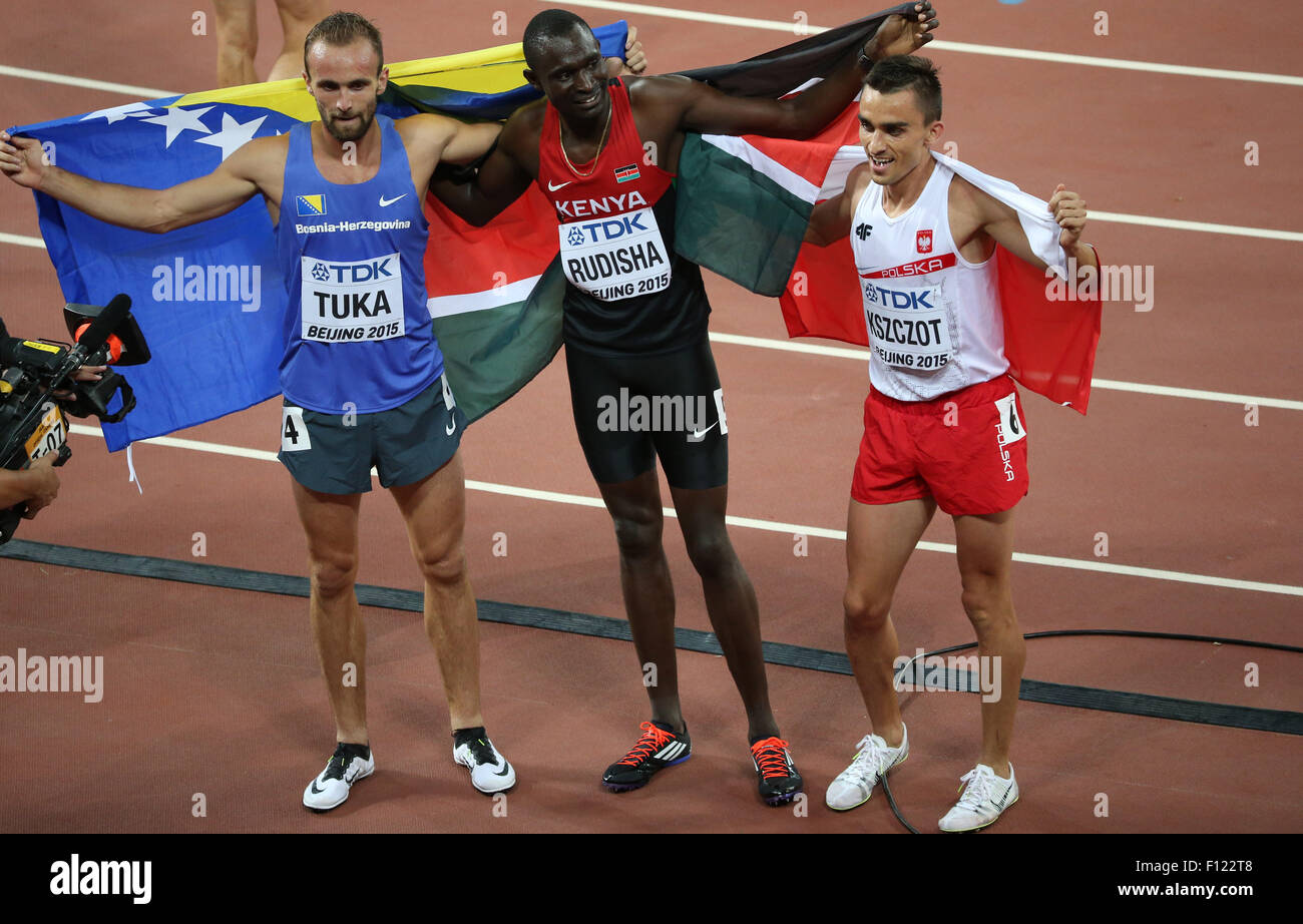 Beijing, China. 25th Aug, 2015. (From L to R) Bosnia-Herzegovina's Amel Tuka, Kenya's David Lekuta Rudisha - Stock Image