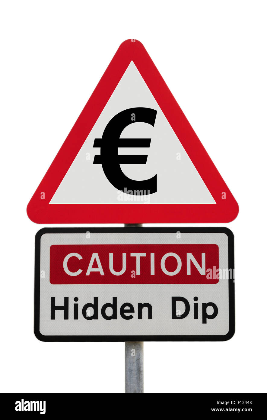 Triangular road sign warning Caution Hidden Dip with Euro sign to illustrate financial future and Brexit concept. - Stock Image