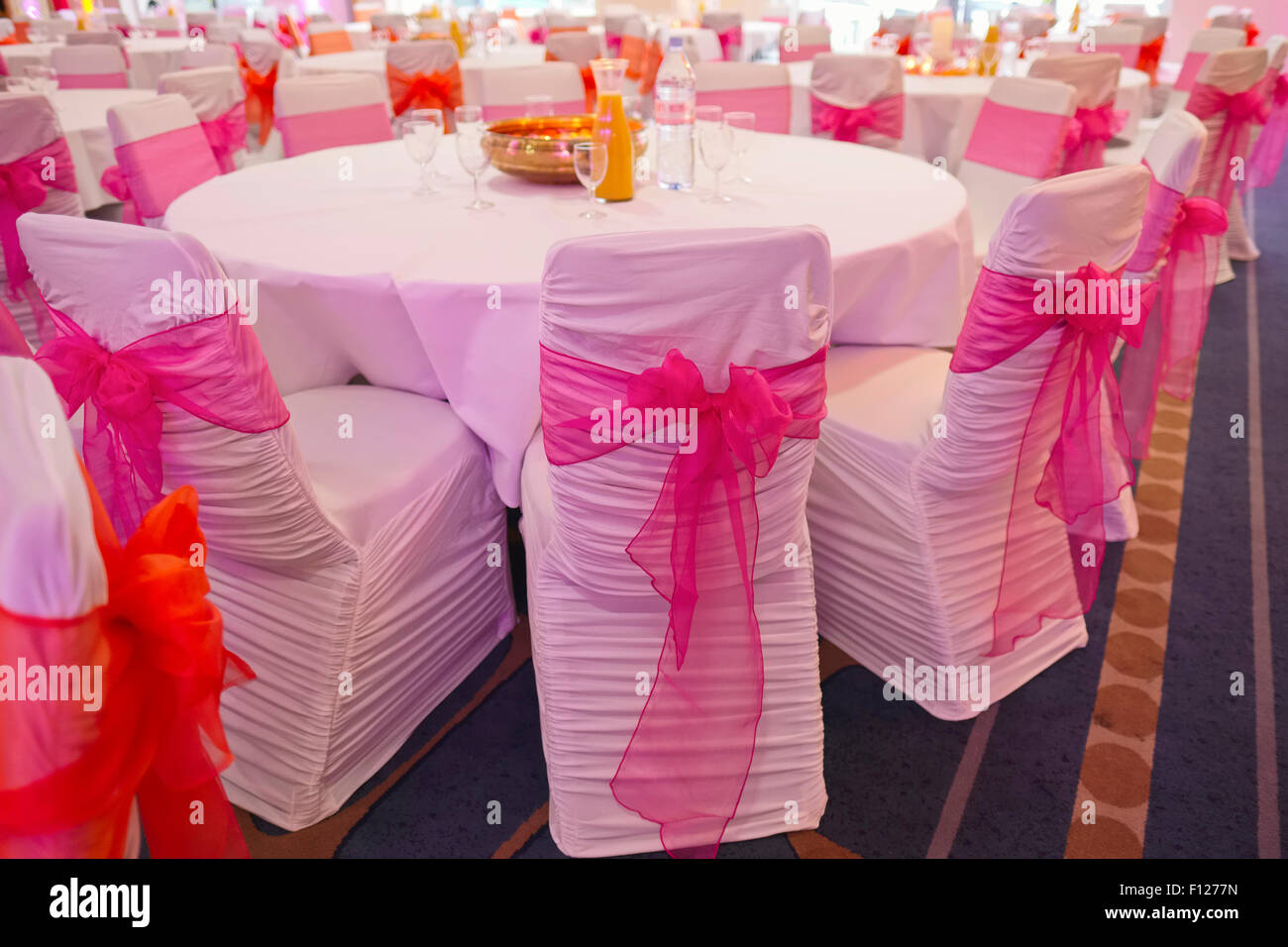 Chairs with Bows at Hotel Wedding Reception - Stock Image & Empty Wedding Reception Room Stock Photos u0026 Empty Wedding Reception ...