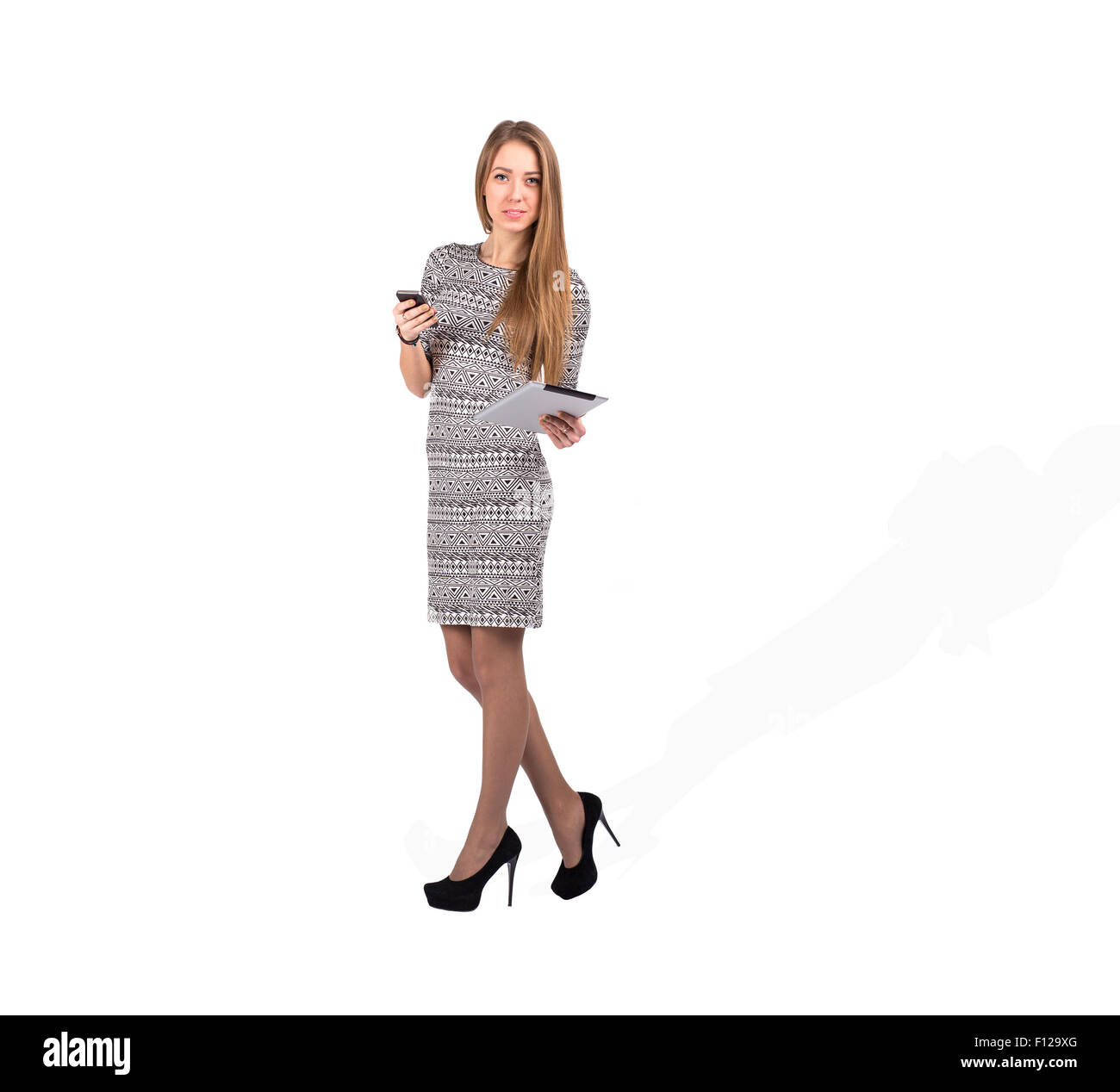 Young Business Lady with Electronic Devices - Stock Image