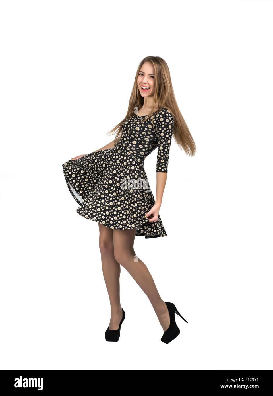 Happy lady makes romantic moves - Stock Image
