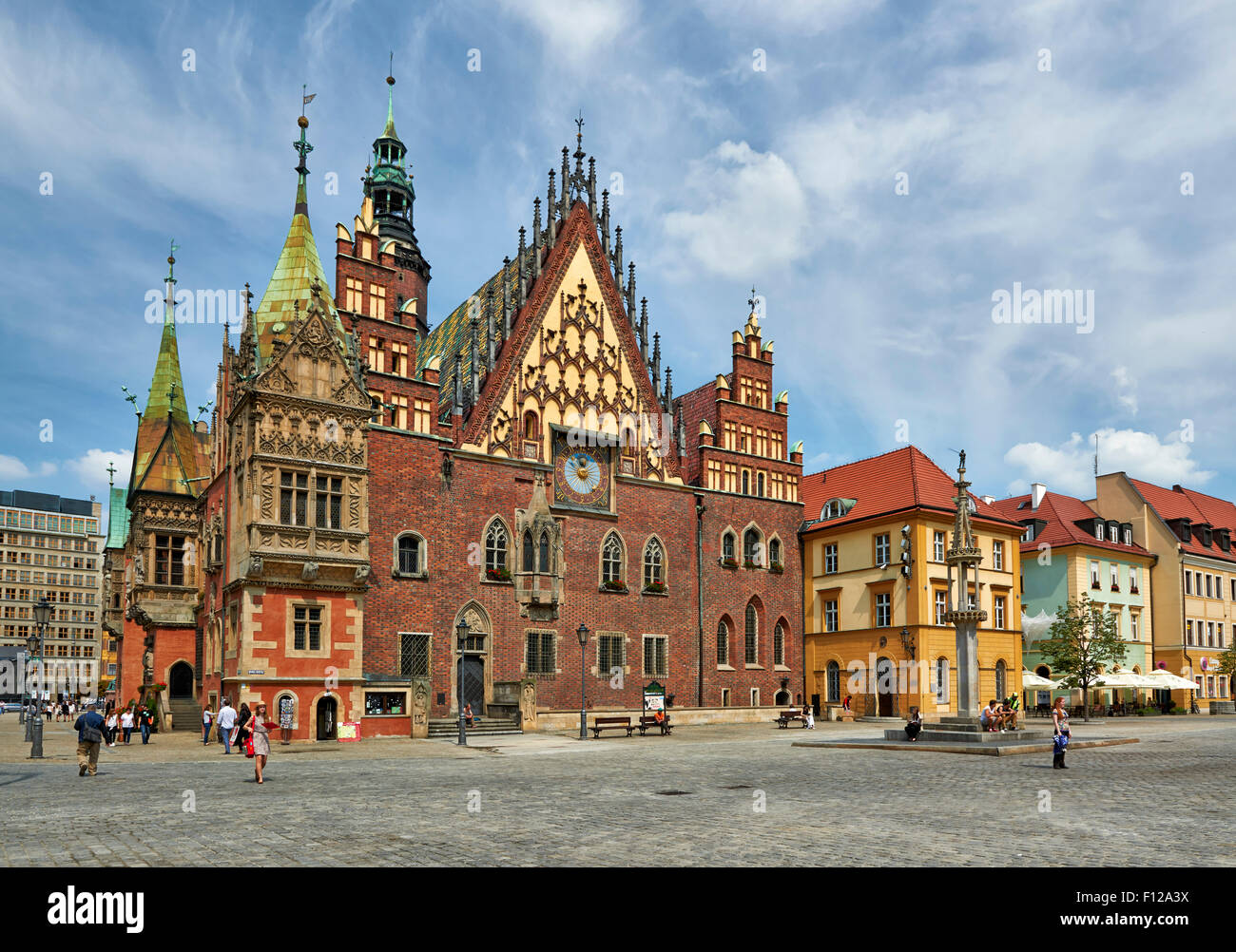 historical City hall on Market Square or Ryneck of Wroclaw, Lower Silesia, Poland, Europe Stock Photo