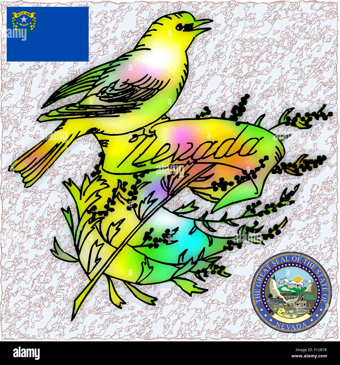 Nevada State Bird Flag Coat Stock Vector Image Art Alamy