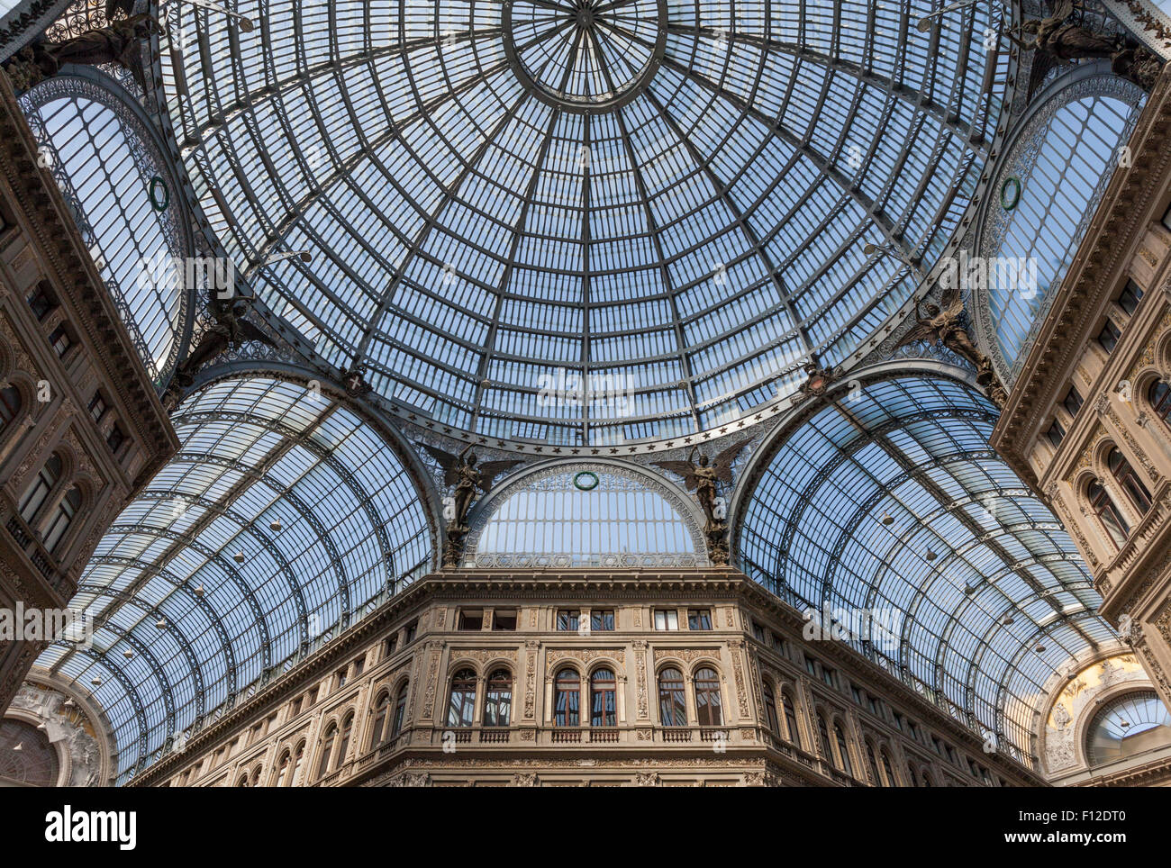 Glass dome and vaults of the Galleria Umberto I in Naples, Italy - Stock Image