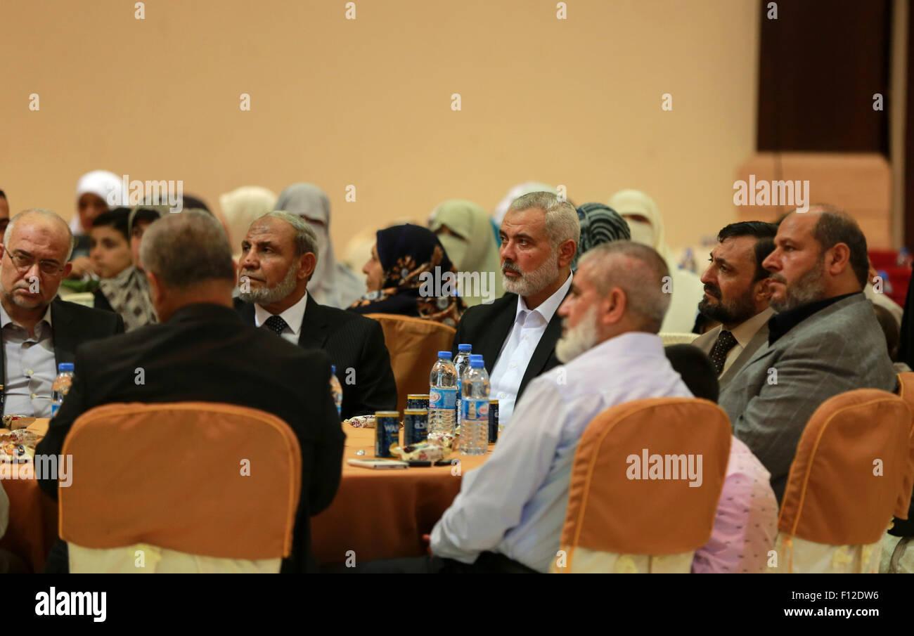 Gaza City, Gaza Strip, Palestinian Territory. 25th Aug, 2015. Senior Hamas leaders Ismail Haniyeh and Mahmoud al - Stock Image