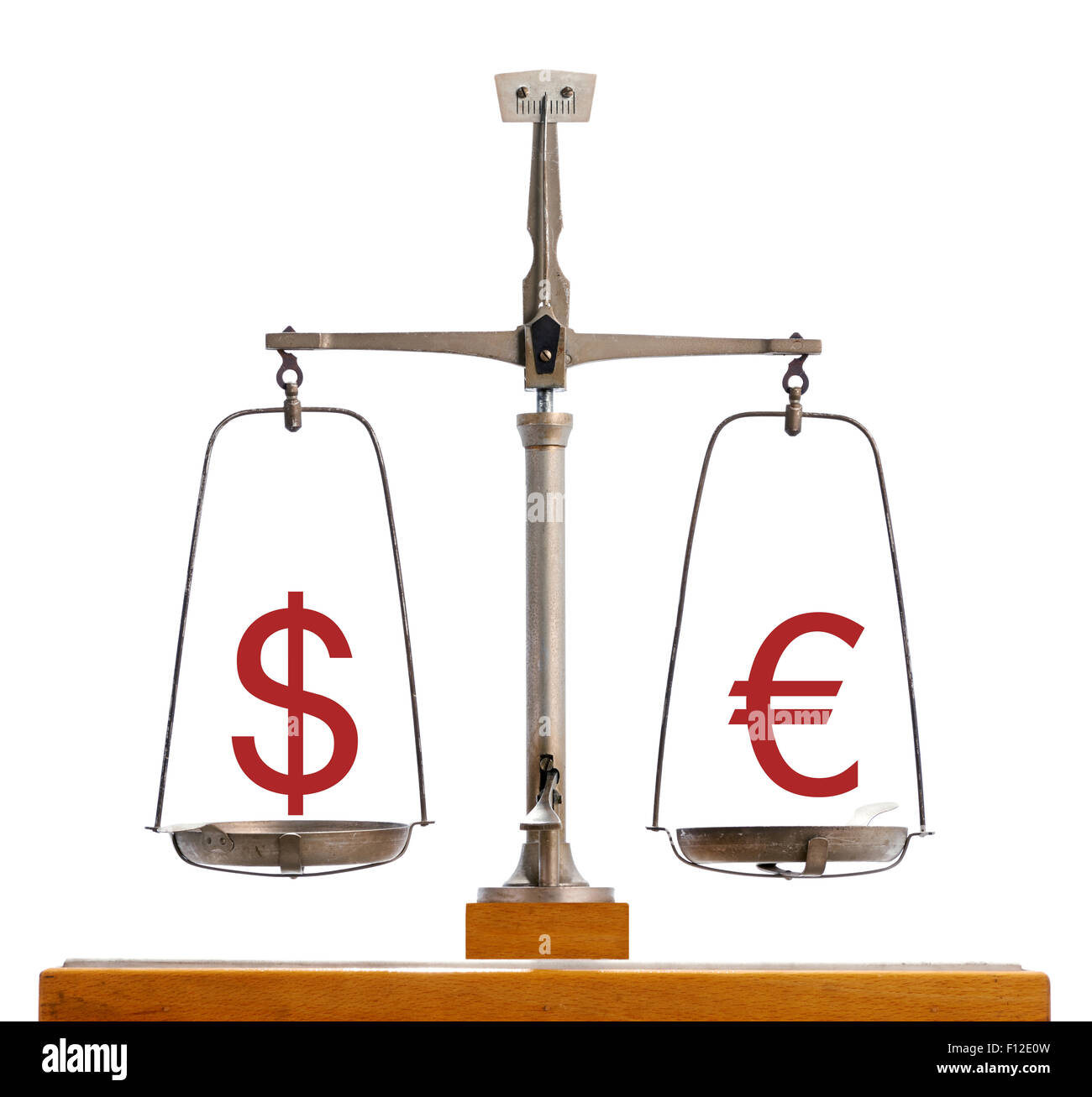 Dollar Euro currency scale showing the value of the two currencies in equilibrium - Stock Image