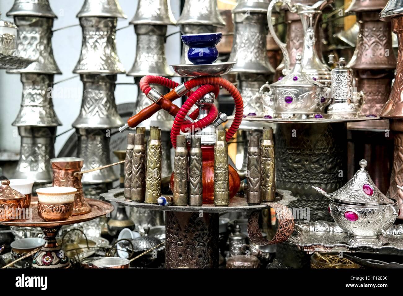 Objects made of grenades from Bosnia's Civil War in Sarajevo's Baščaršija. - Stock Image