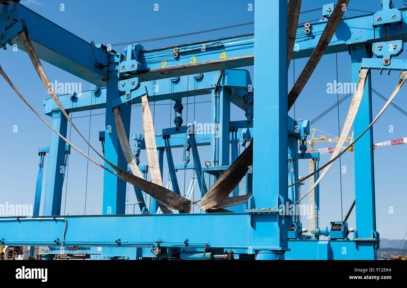 blue boat crane Stock Photo