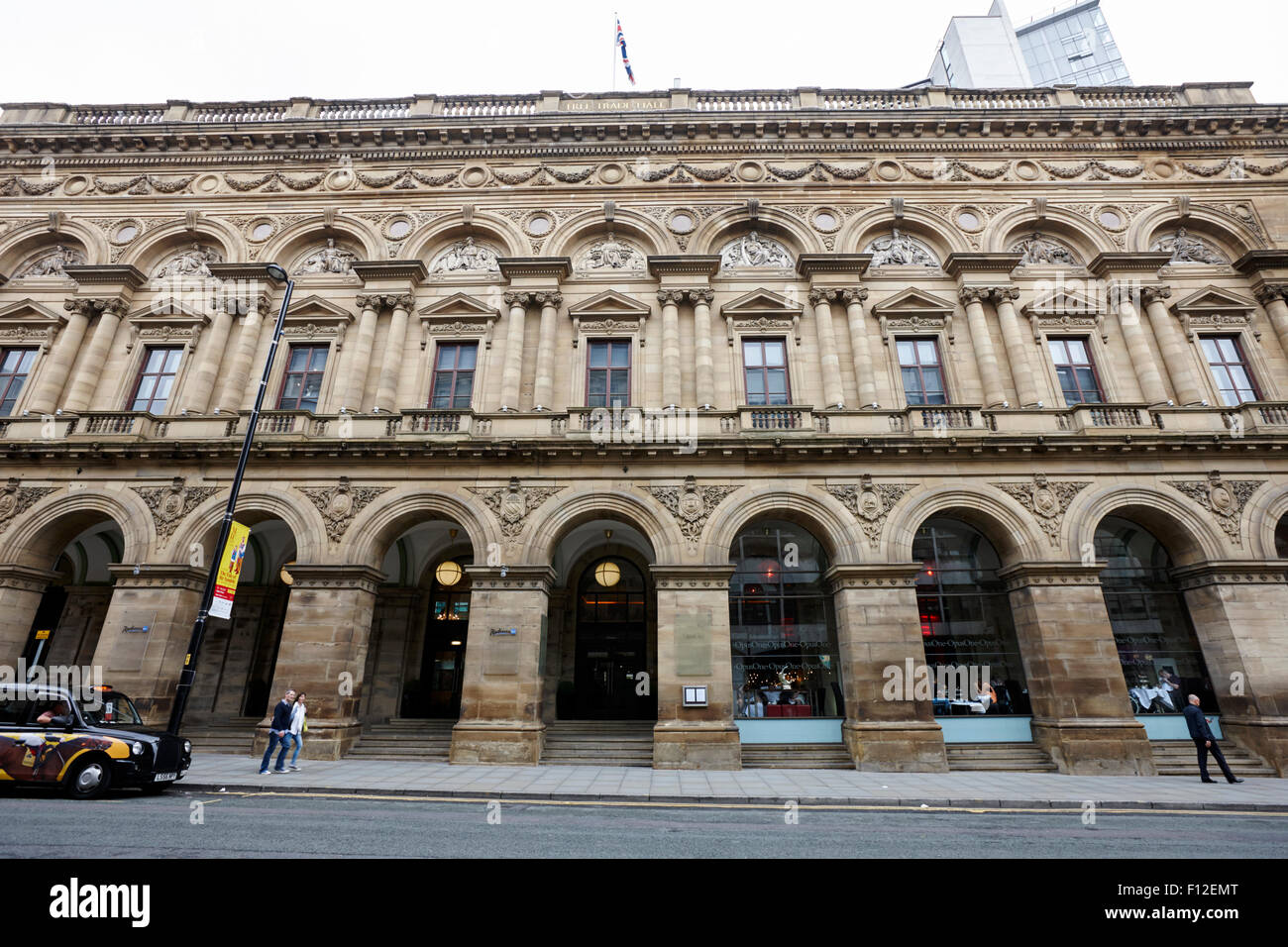 Free Trade Hall on St Peters site of the Peterloo massacre now radisson hotel Manchester England UK - Stock Image