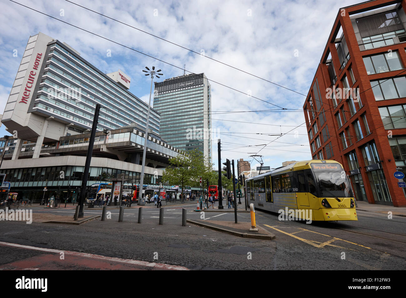 piccadilly gardens and Manchester city centre uk - Stock Image