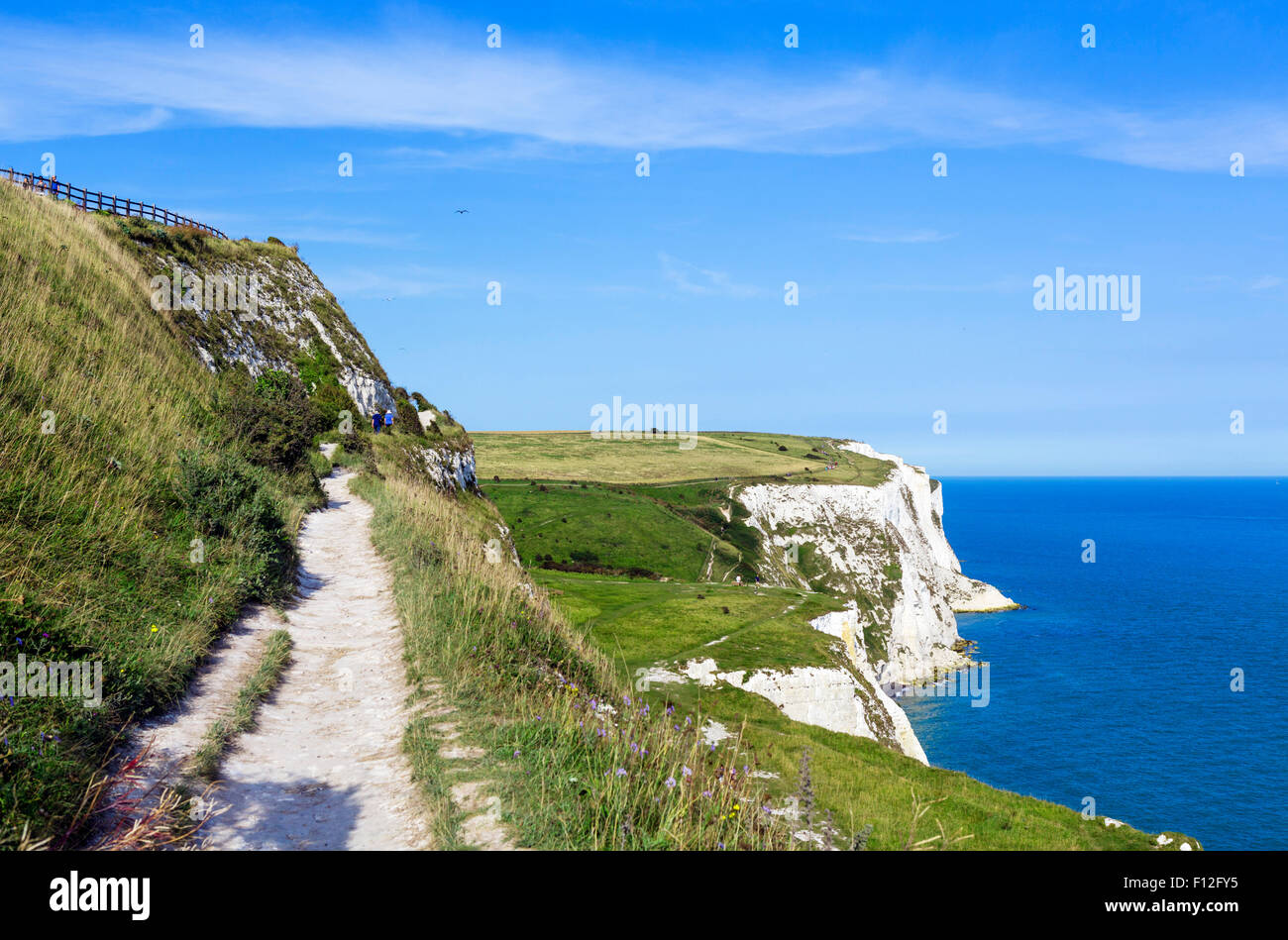 Clifftop path at the White Cliffs, Dover, Kent, England, UK - Stock Image