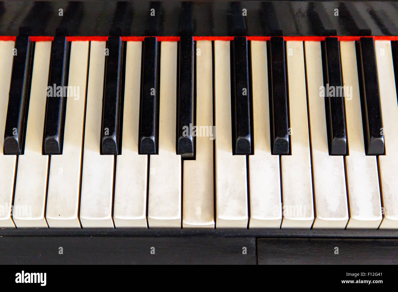 Close up top view of black old piano with white keys on. - Stock Image