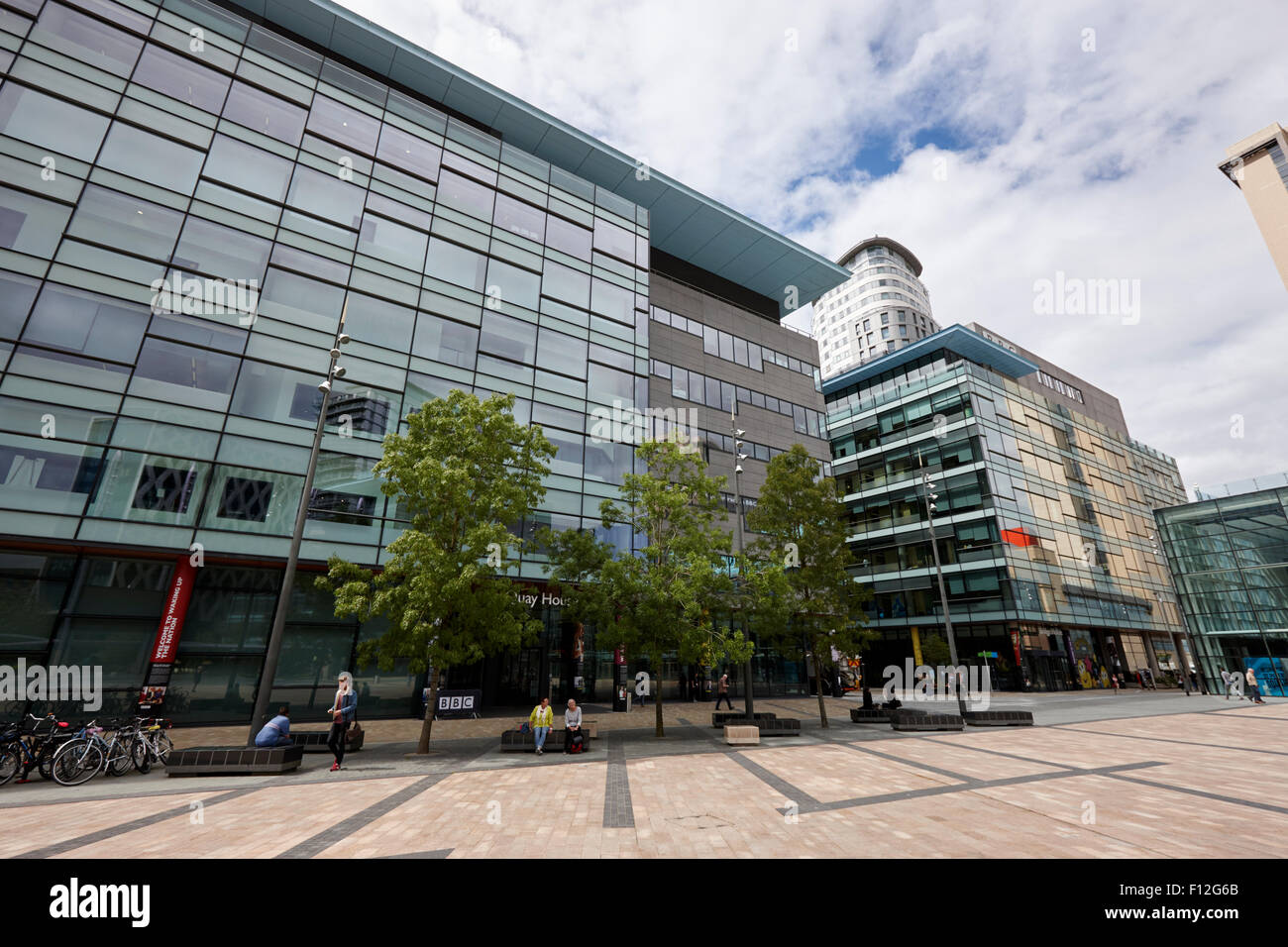 bbc quay and bridge house buildings mediacity salford Manchester uk - Stock Image