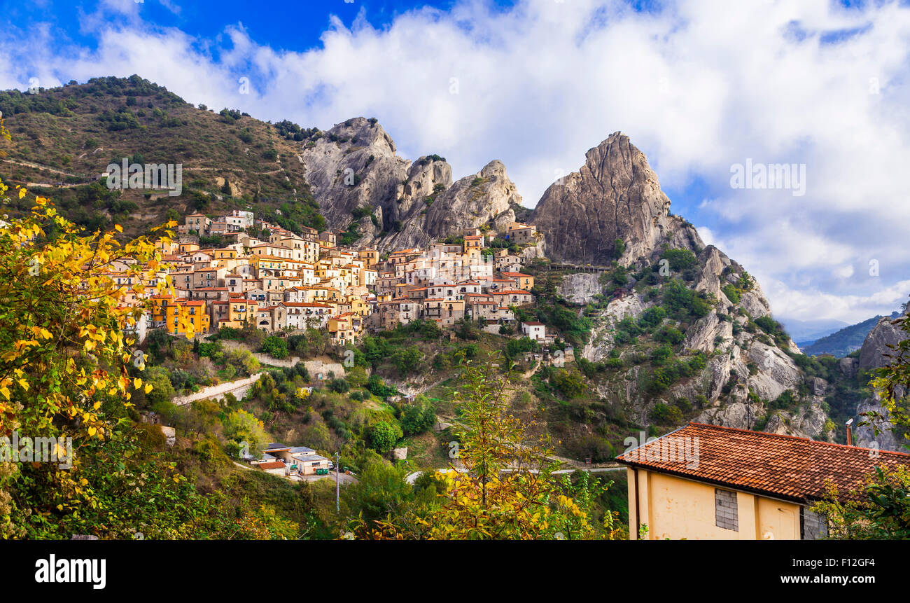 impressive village in rocky mountains Castelmezzano. Basilicata region, Italy Stock Photo