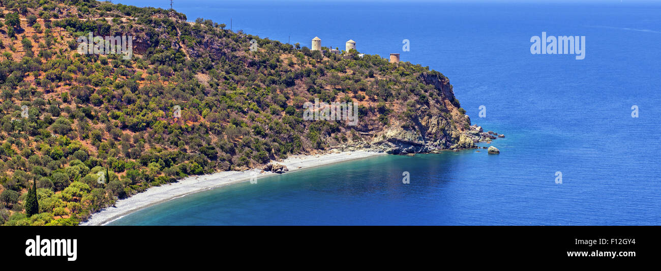 Old windmills at cape Lygaria near Tyros resort, in Kynouria district, in Arcadia, Peloponnese, Greece - Stock Image