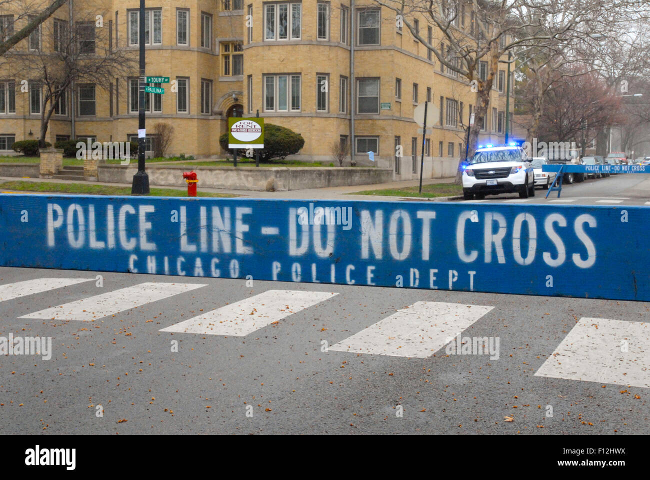 Police line in Chicago - Stock Image