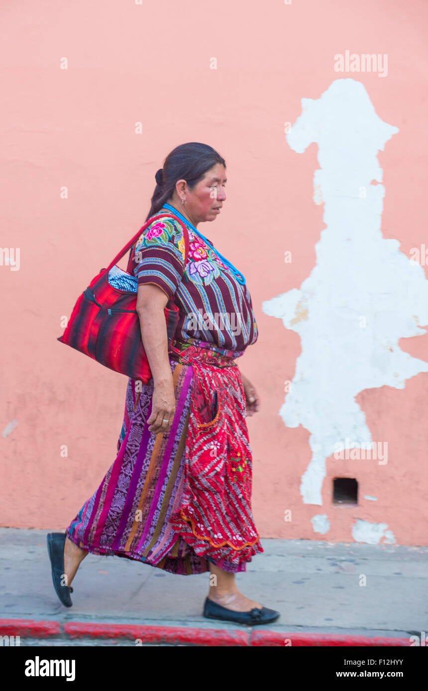Guatemalan woman at the street of Antigua Guatemala - Stock Image