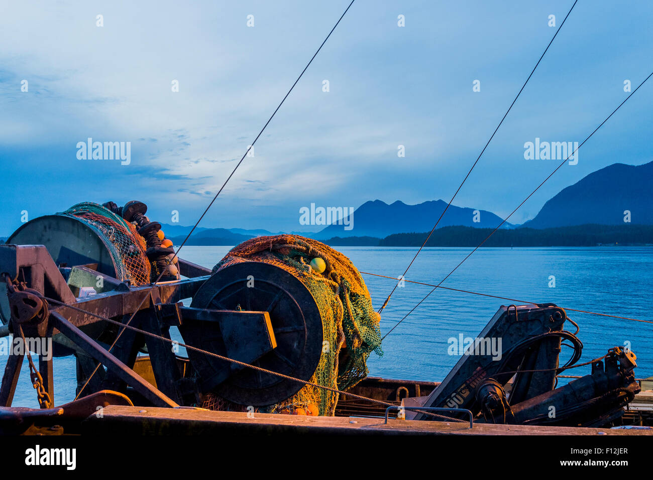 Fishing boat net winch, Tofino, British Columbia, Canada - Stock Image