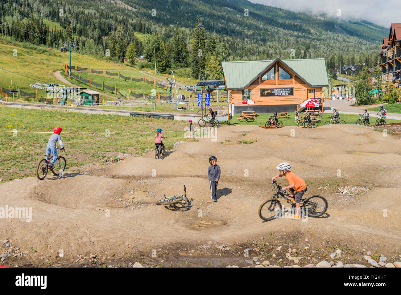 Kids Mountain bike course, Kicking Horse Resort, near Golden, British Columbia, Canada - Stock Image