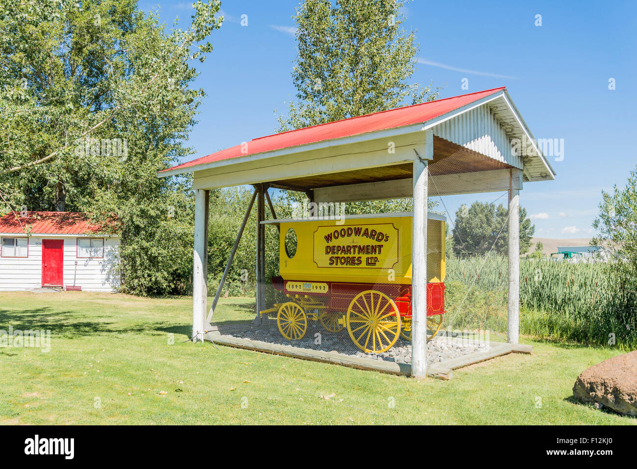 Old Woodward's Department Stores wagon, Douglas Lake Cattle Company, , British Columbia, Canada - Stock Image