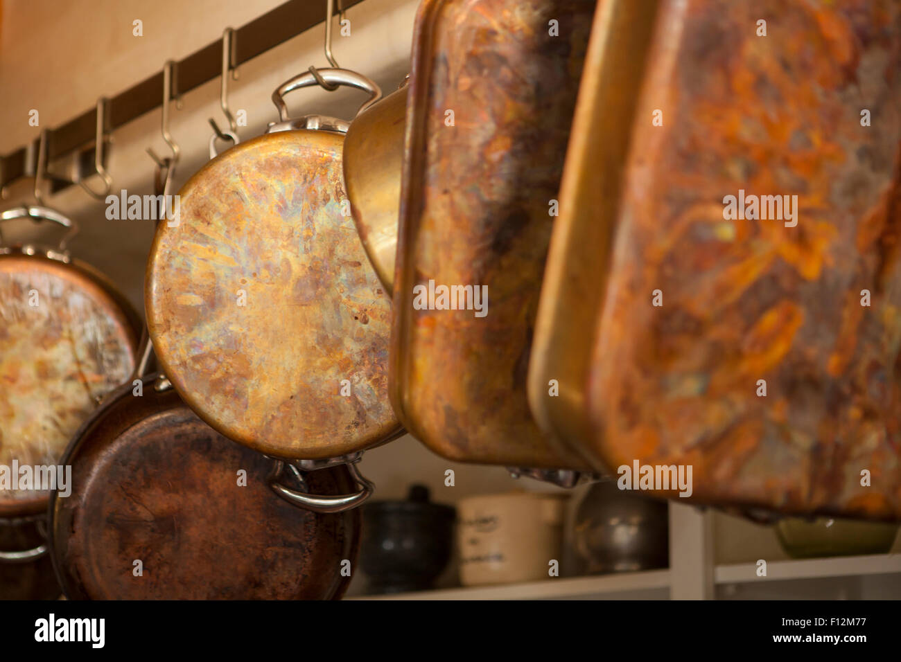copper pots and pans in kitchen at Roblar Winery, Santa Ynez Valley, California - Stock Image