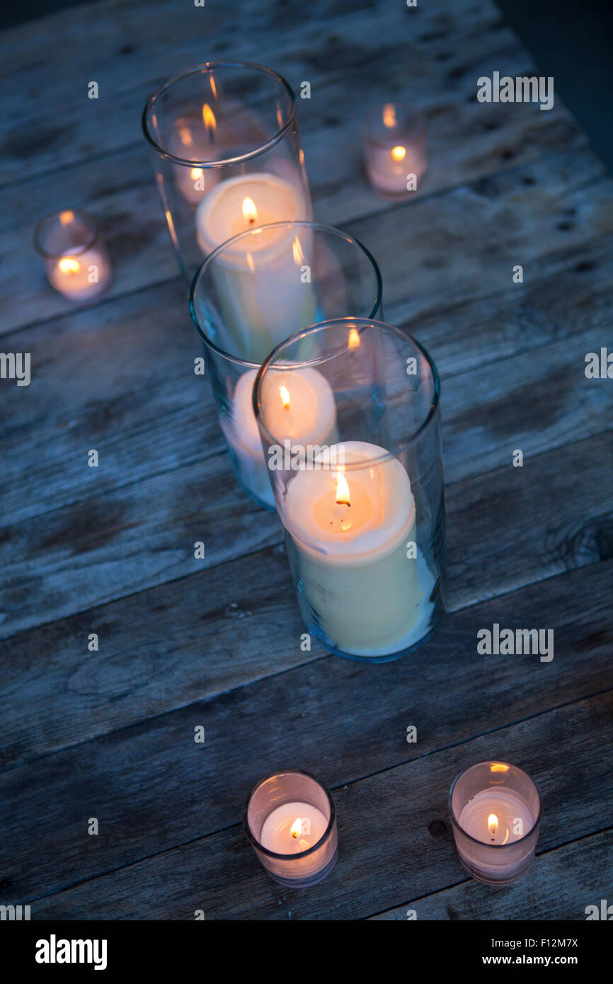 candles used for mood lighting, Members' Dinner at Roblar Winery, Santa Ynez Valley, California Stock Photo