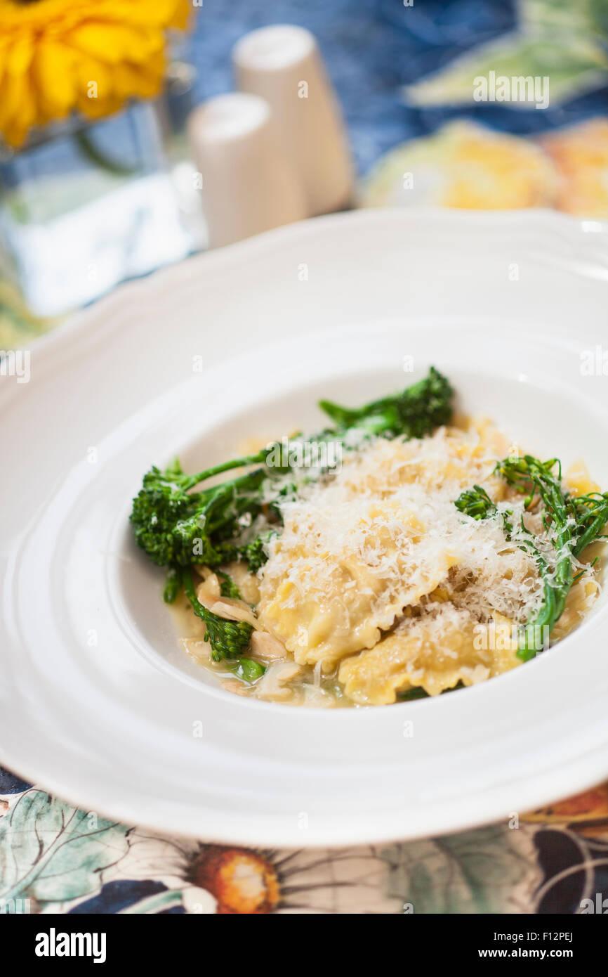 Italian sausage ravioli with sage and broccolini, Bella Vista Restaurant, Biltmore Hotel, Santa Barbara, California - Stock Image