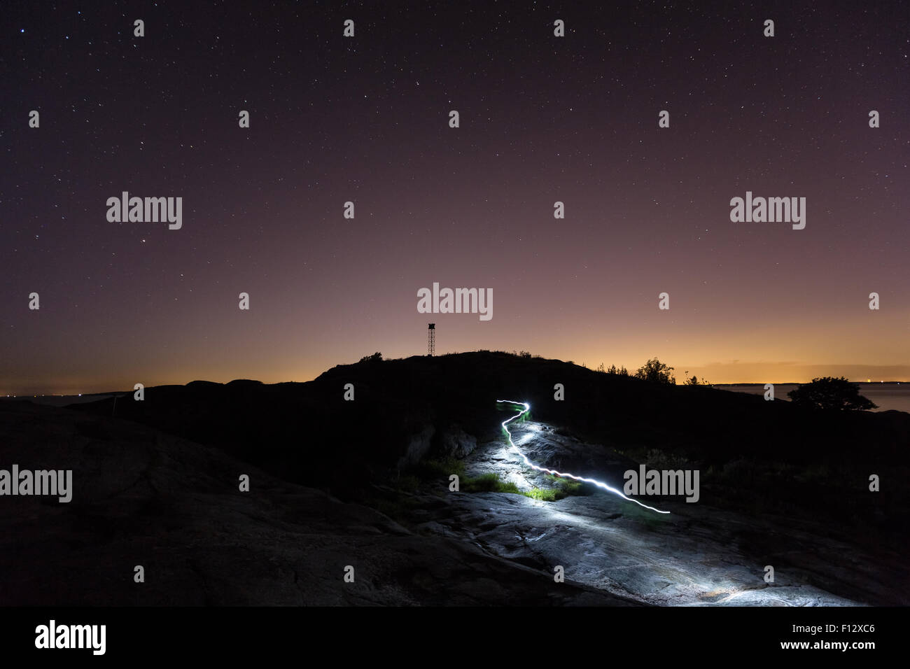 Light trail at Länsi-Toukki island, Helsinki, Finland, Europe, EU Stock Photo