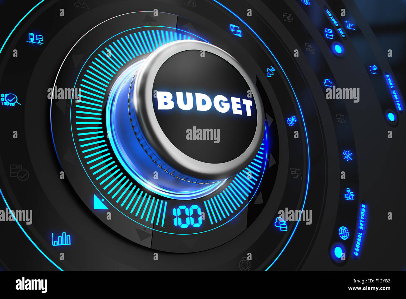 Budget Controller on Black Control Console. - Stock Image