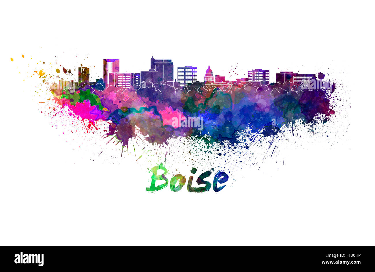 Boise skyline in watercolor splatters with clipping path - Stock Image